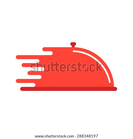 red dish like food delivery. concept of cooking, waiter, quick service, send goods, logistic, catering. isolated on white background. flat style trend modern brand design vector illustration - stock vector