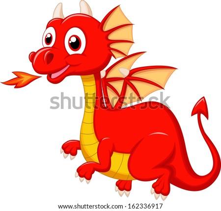 Red dragon cartoon flying - stock vector