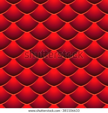 Red Dragon Scale Seamless Vector Pattern - stock vector