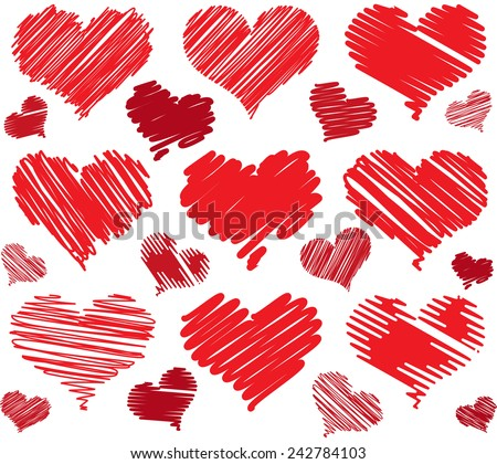 Red drawings hearts - stock vector