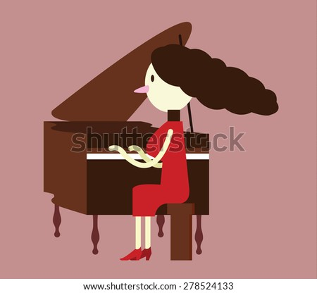 Red dress woman Playing the piano. flat character design. vector illustration - stock vector