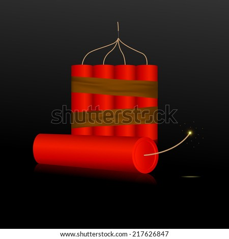 Red Dynamite on a black background. Vector illustration - stock vector