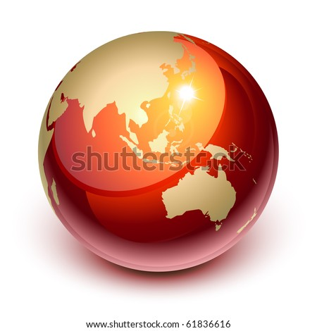 Red earth showing Asia and Australia - stock vector