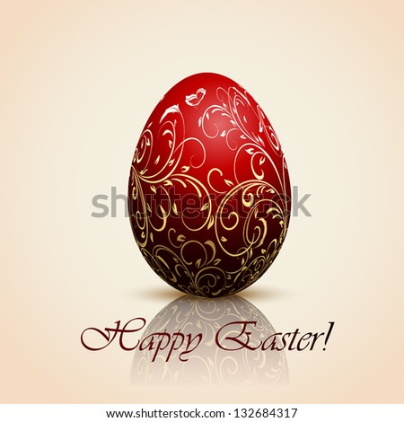 Red Easter egg with decorative elements, illustration. - stock vector