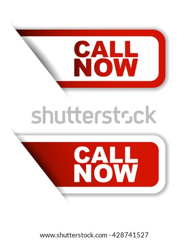 Red easy vector illustration isolated horizontal banner call now two versions. This element is well adapted to web design. - stock vector