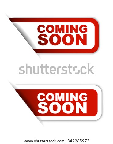 Red easy vector illustration isolated horizontal banner coming soon two versions. This element is well adapted to web design. - stock vector