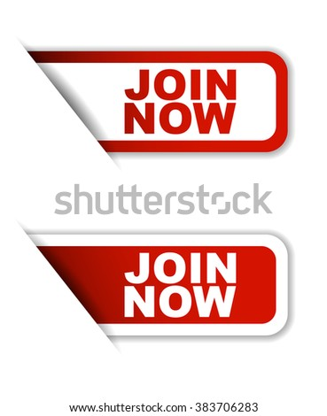 Red easy vector illustration isolated horizontal banner join now two versions. This element is well adapted to web design. - stock vector