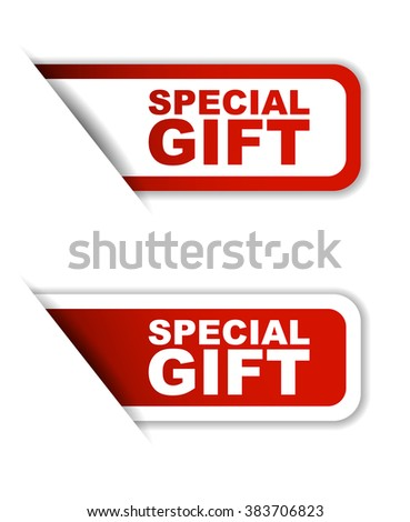Red easy vector illustration isolated horizontal banner special gift two versions. This element is well adapted to web design. - stock vector