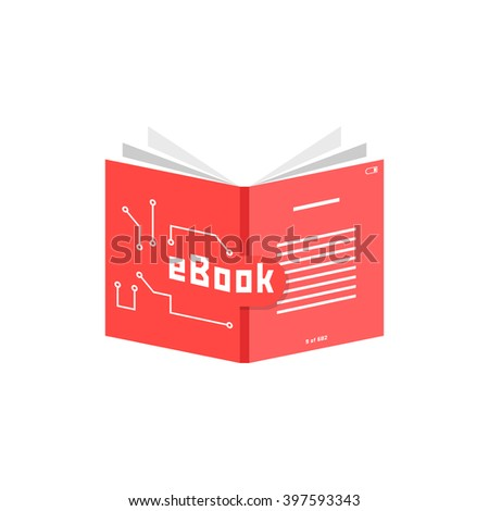 red ebook icon. concept of pdf, info, dictionary, ebook reader, publication, screen, encyclopedia, training. flat style trend modern ebook logotype design vector illustration on white background - stock vector