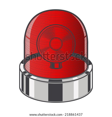 Red emergency siren isolated on a white background. Color line art. Retro design. Vector illustration. - stock vector