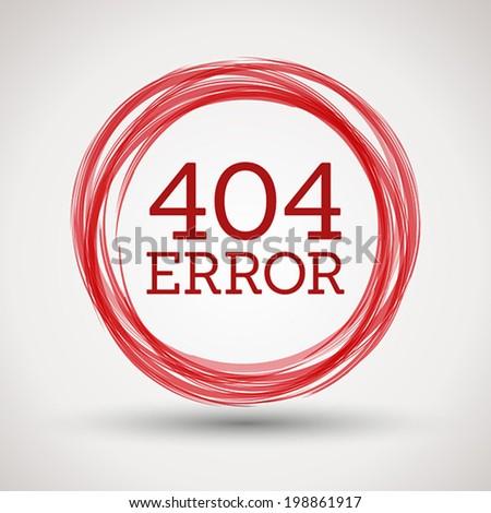 red 404 error, concept of error page - stock vector