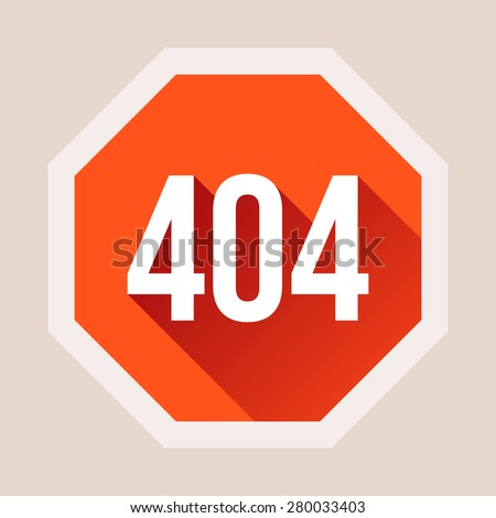 Red 404 error page not found with long shadow in flat style. Vector illustration - stock vector