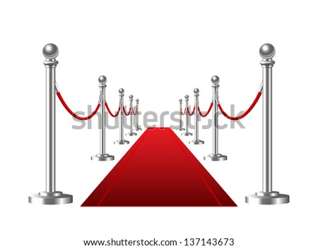 Red event carpet isolated on a white background. Vector illustration - stock vector