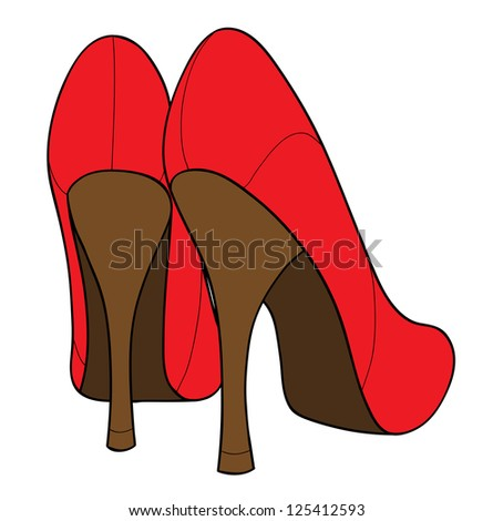 Red female shoes isolated on white - stock vector