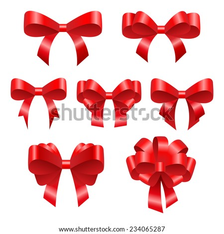 Red festive bows. Beautiful bright bows of different configurations. Suitable as a decoration for the holidays, such as Christmas for example. - stock vector
