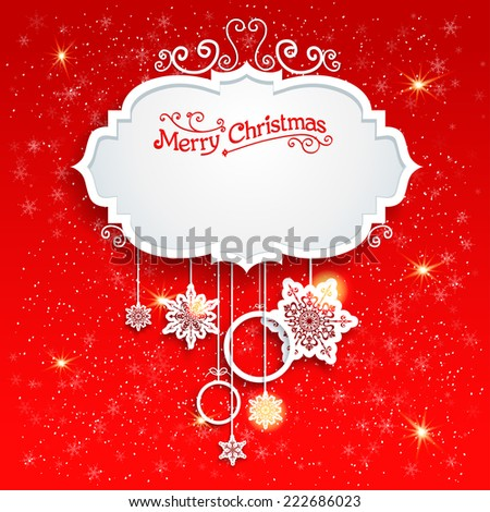 Red festive card with christmas decoration. Copy space. - stock vector