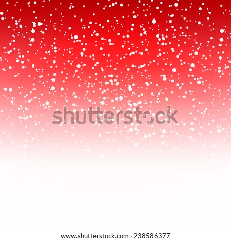 Red festive winter background with falling snow, vector illustration - stock vector