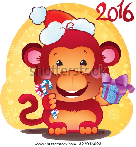 Red Fire Monkey - symbol of the new 2016 year. - stock vector