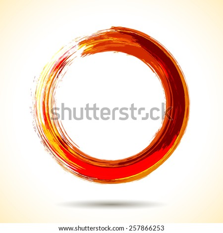 Red fire themed brush painted watercolor ring - stock vector
