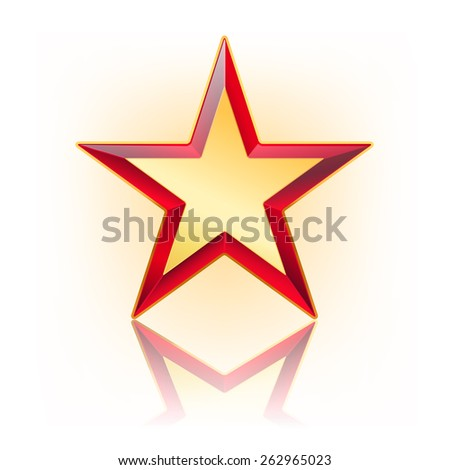 red five corner star with gold in the middle. vector illustration - stock vector