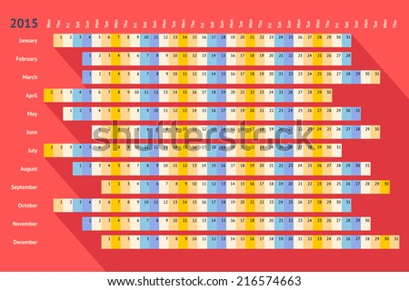 Red flat styled linear calendar 2015 with long shadow - stock vector