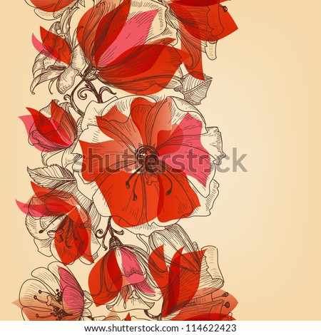 Red flowers seamless pattern in retro style vector illustration - stock vector