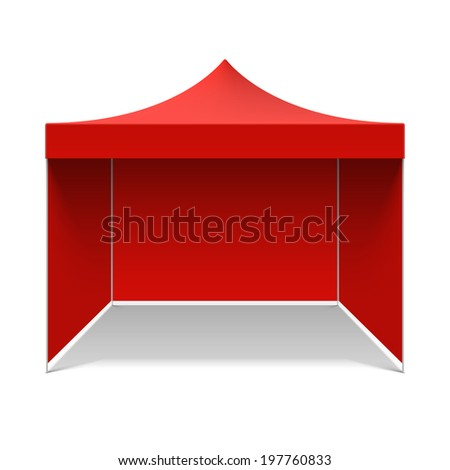 Red folding tent. Vector. - stock vector
