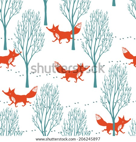 Red foxes in a winter forest background - stock vector
