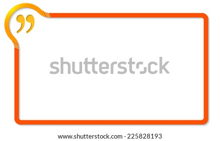 red frame with yellow corner and quotation mark - stock vector