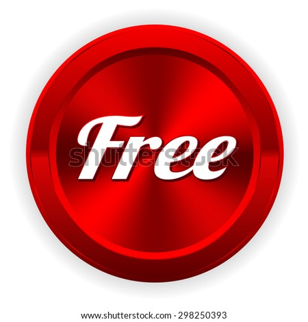 Red free button on white background - stock vector