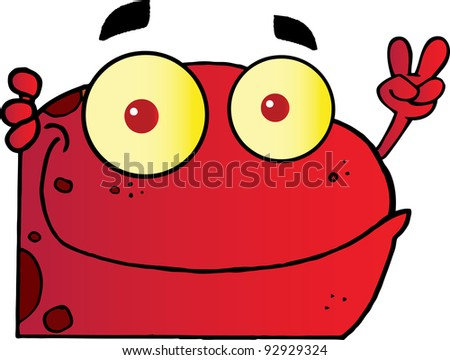 Red Frog Gesturing The Peace Sign With His Hand.Vector Illustration - stock vector