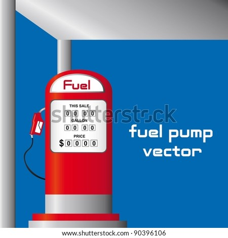 red fuel pump over blue background. vector illustration - stock vector