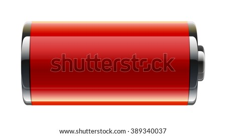 red full shining penlight batteries - stock vector