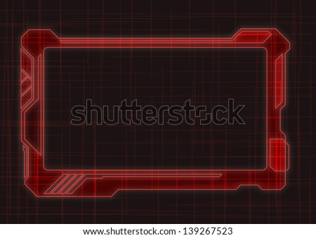 Red Futuristic Screen Tablet Device  - stock vector