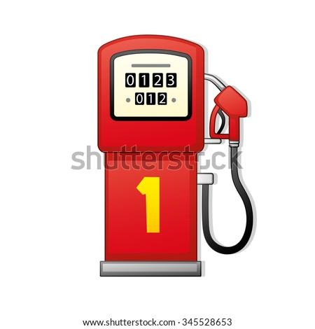 Red gasoline pump. - stock vector