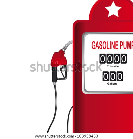 red gasoline pump over white background. vector illustration - stock vector