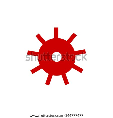 red gear wheel on white background           - stock vector