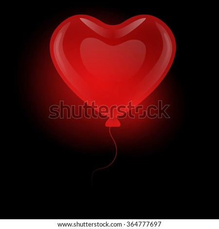Red gel floating balloon in the shape of a heart on a black background. - stock vector