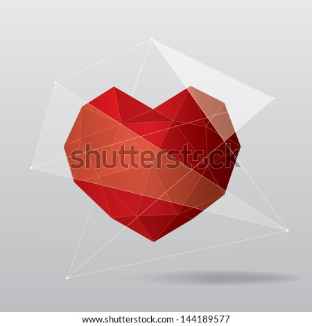 Red geometric heart background - stock vector