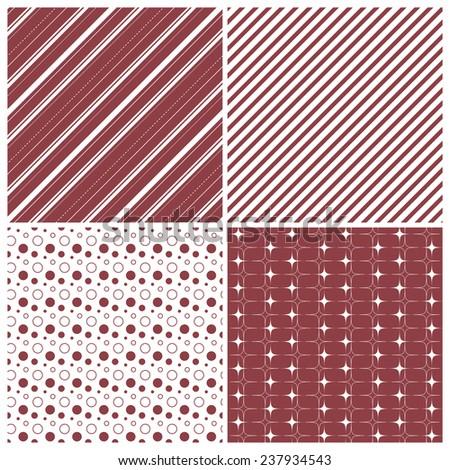 red geometric seamless patterns: stars, stripes, polka dots, circles, squares, grid, vector illustration - stock vector