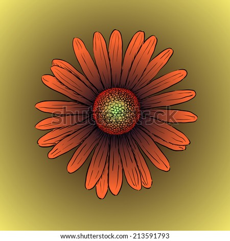 Red gerbera flower isolated on brown background. Vector illustration - stock vector