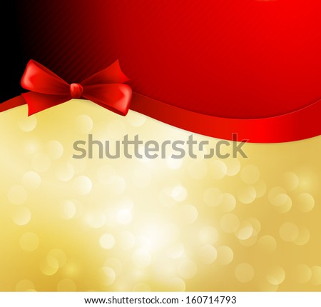 Red gift bow and ribbon in golden background - stock vector