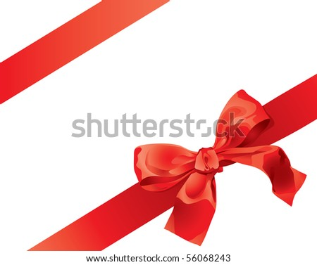 Red Gift Bow Isolated Over White Background - stock vector