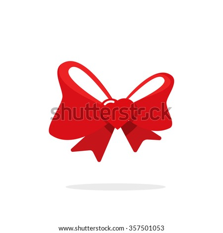 Red gift bow ribbon with heart vector illustration in flat cartoon style, valentine day decoration idea, wedding, love surprise icon design, sign isolated on white background - stock vector