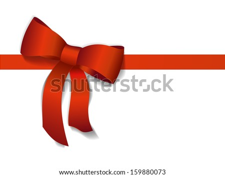 Red gift bows with ribbons. Vector Illustration. - stock vector