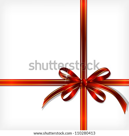 Red Gift Ribbon. Vector background - stock vector