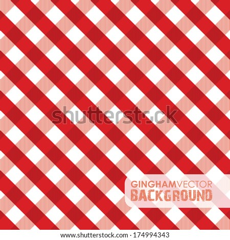 red gingham background - stock vector