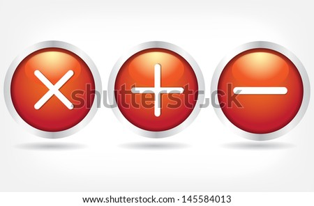Red glass buttons with plus signs, minus and cross. Vector Eps 10 - stock vector