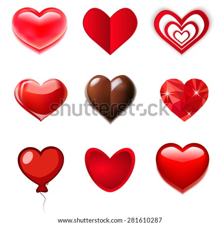 red, glass, chocolate hearts - stock vector