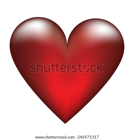 Red glass heart isolated on white for Valentines design - stock vector